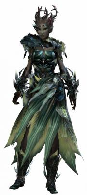 Dryad armor light sylvari female front