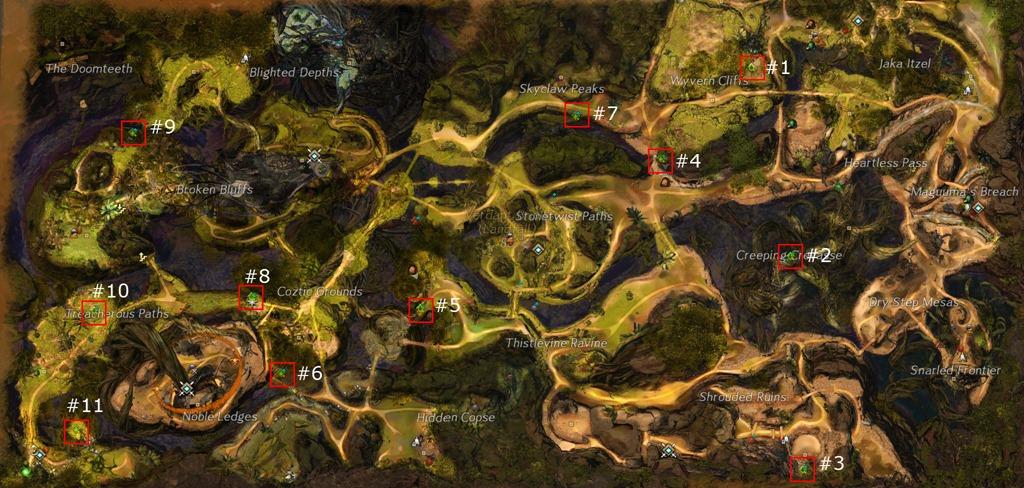 Gw2 Karte.Orée D émeraude Points De Héros