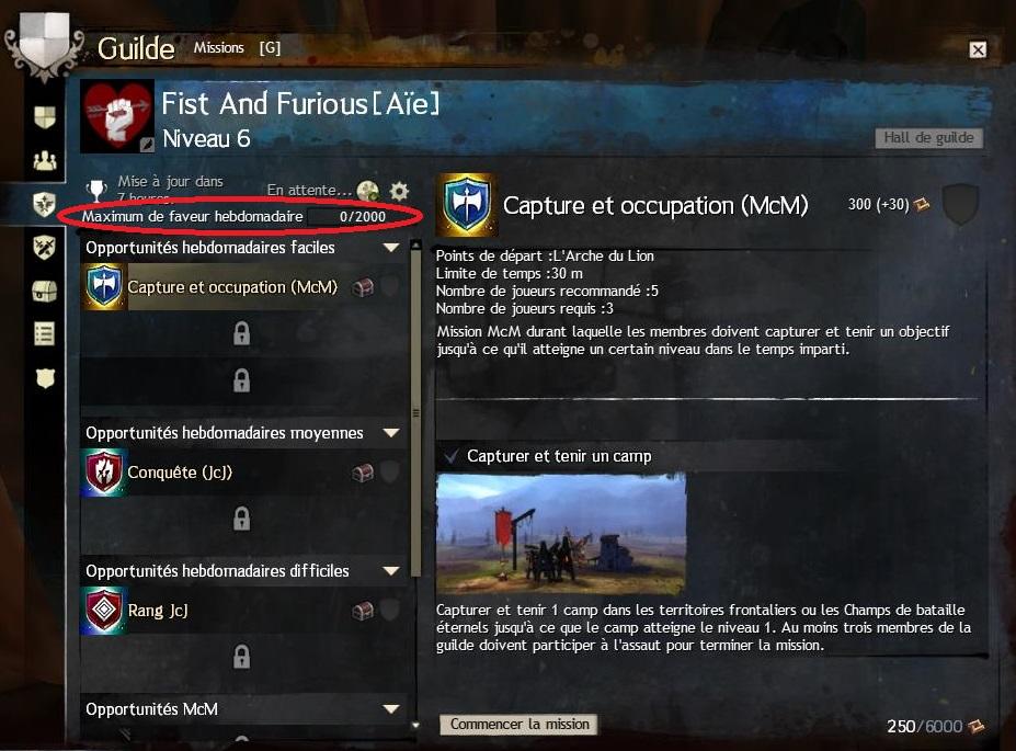 Missions guilde limite faveur