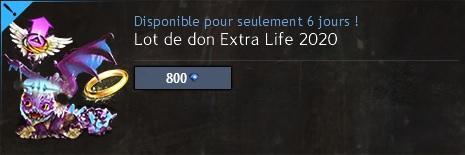 Lot de dons extra life 2020